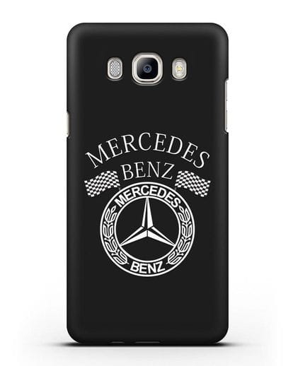 Чехол с надписью и логотипом Мерседес Бенц силикон черный для Samsung Galaxy J7 2016 [SM-J710F]