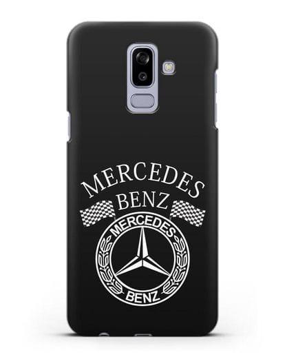 Чехол с надписью и логотипом Мерседес Бенц силикон черный для Samsung Galaxy J8 2018 [SM-J810F]