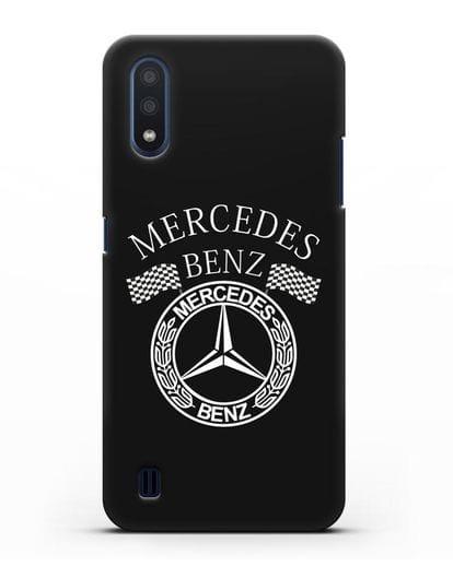 Чехол с надписью и логотипом Мерседес Бенц силикон черный для Samsung Galaxy M01 [SM-M015F]