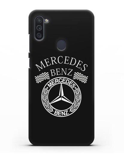 Чехол с надписью и логотипом Мерседес Бенц силикон черный для Samsung Galaxy M11 [SM-M115F]