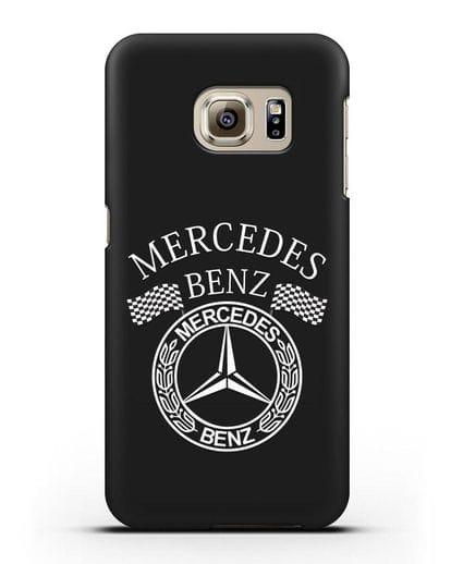 Чехол с надписью и логотипом Мерседес Бенц силикон черный для Samsung Galaxy S6 Edge [SM-G925F]