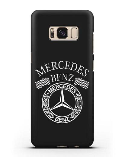 Чехол с надписью и логотипом Мерседес Бенц силикон черный для Samsung Galaxy S8 Plus [SM-G955F]