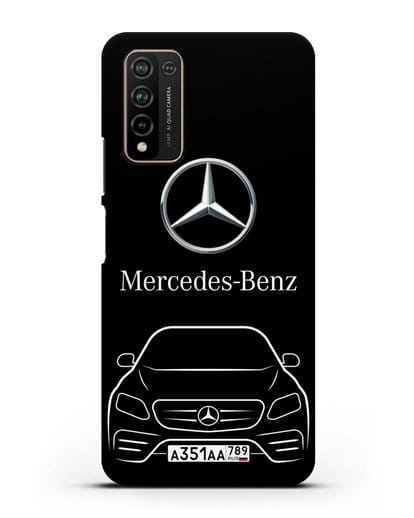 Чехол Mercedes Benz E-класс с автомобильным номером силикон черный для Honor 10X Lite