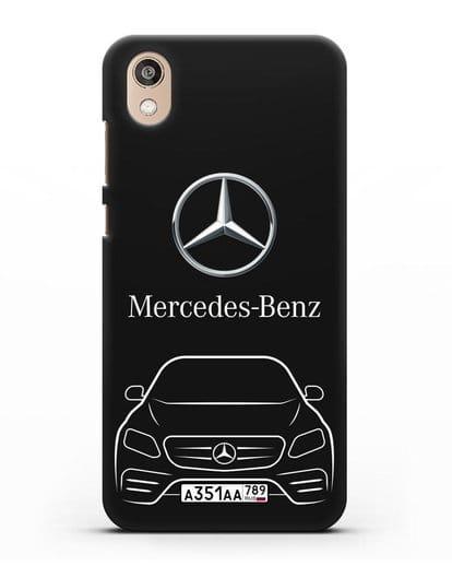Чехол Mercedes Benz E-класс с автомобильным номером силикон черный для Honor 8S