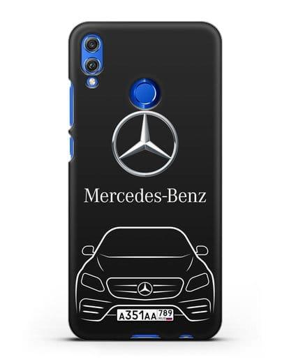 Чехол Mercedes Benz E-класс с автомобильным номером силикон черный для Honor 8X