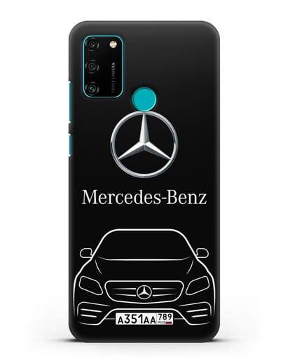 Чехол Mercedes Benz E-класс с автомобильным номером силикон черный для Honor 9A