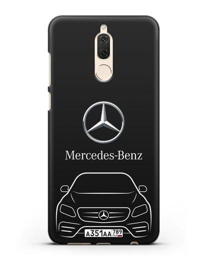 Чехол Mercedes Benz E-класс с автомобильным номером силикон черный для Huawei Mate 10 Lite
