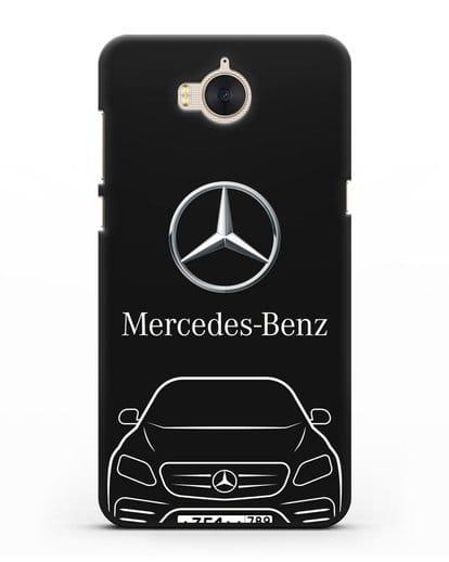 Чехол Mercedes Benz E-класс с автомобильным номером силикон черный для Huawei Y5 2017