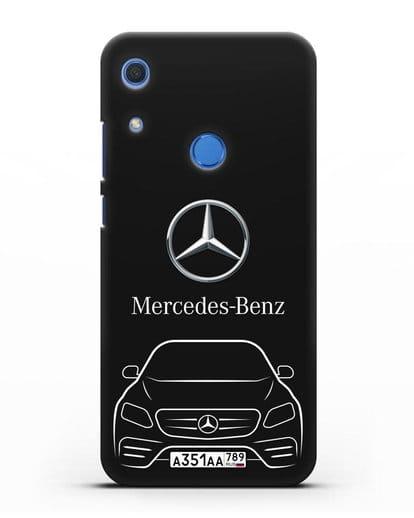 Чехол Mercedes Benz E-класс с автомобильным номером силикон черный для Huawei Y6s