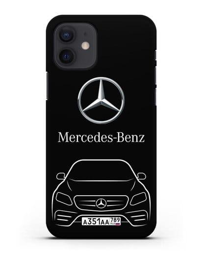 Чехол Mercedes Benz E-класс с автомобильным номером силикон черный для iPhone 12