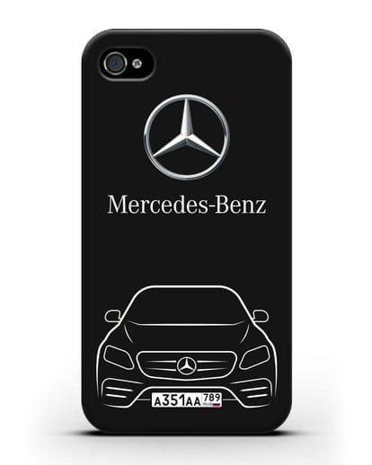 Чехол Mercedes Benz E-класс с автомобильным номером силикон черный для iPhone 4/4s