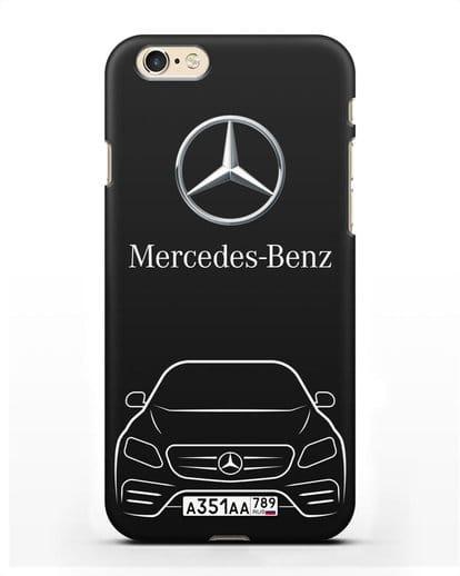 Чехол Mercedes Benz E-класс с автомобильным номером силикон черный для iPhone 6