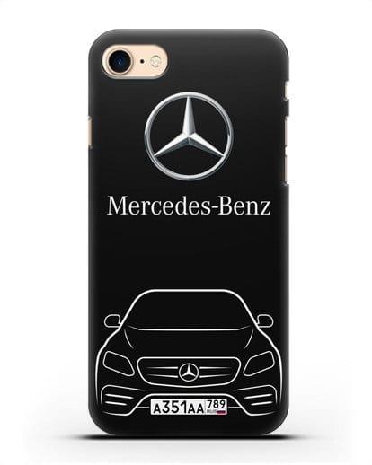 Чехол Mercedes Benz E-класс с автомобильным номером силикон черный для iPhone 8