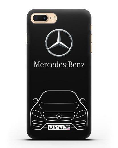 Чехол Mercedes Benz E-класс с автомобильным номером силикон черный для iPhone 7 Plus