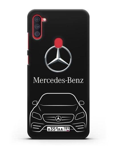 Чехол Mercedes Benz E-класс с автомобильным номером силикон черный для Samsung Galaxy A11 [SM-A115F]