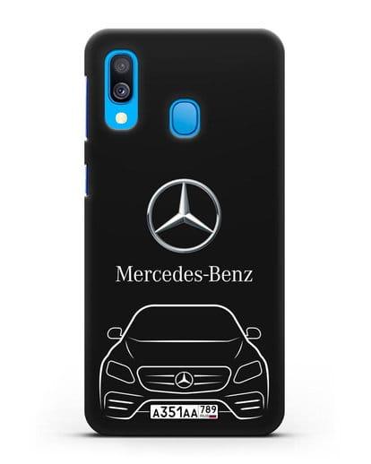 Чехол Mercedes Benz E-класс с автомобильным номером силикон черный для Samsung Galaxy A40 [SM-A405F]