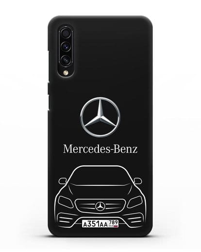 Чехол Mercedes Benz E-класс с автомобильным номером силикон черный для Samsung Galaxy A50s [SM-F507FN]