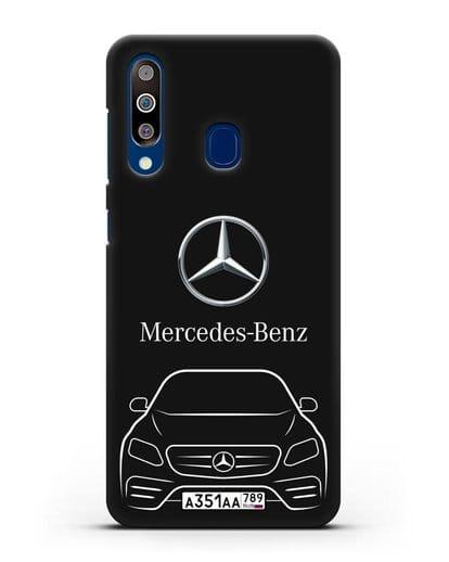 Чехол Mercedes Benz E-класс с автомобильным номером силикон черный для Samsung Galaxy A60 [SM-A606F]
