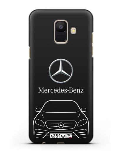 Чехол Mercedes Benz E-класс с автомобильным номером силикон черный для Samsung Galaxy A6 2018 [SM-A600F]