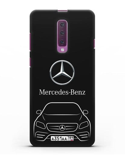 Чехол Mercedes Benz E-класс с автомобильным номером силикон черный для Samsung Galaxy A90 [SM-A908N]