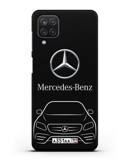 Чехол Mercedes Benz E-класс с автомобильным номером силикон черный для Samsung Galaxy A12 [SM-A125F]