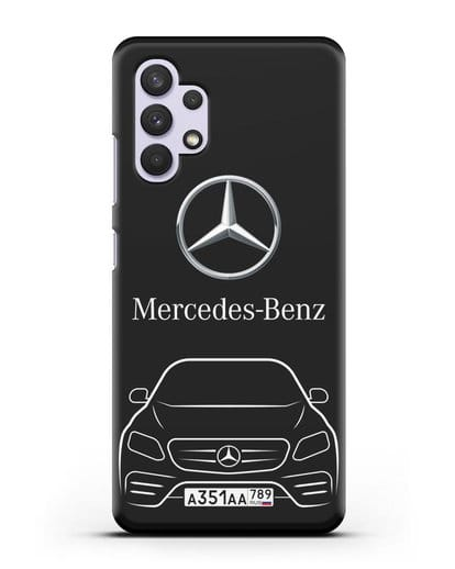 Чехол Mercedes Benz E-класс с автомобильным номером силикон черный для Samsung Galaxy A32 4G [SM-A325F]
