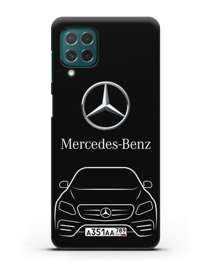 Чехол Mercedes Benz E-класс с автомобильным номером силикон черный для Samsung Galaxy M62 [SM-M625F]