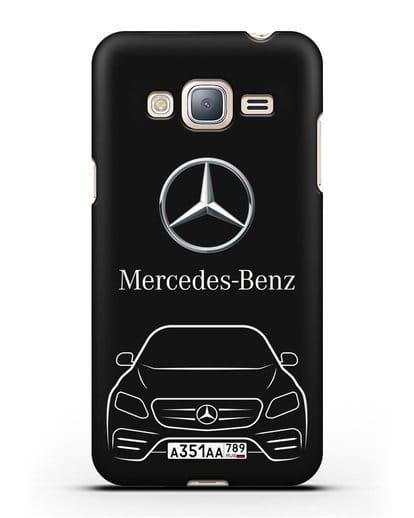 Чехол Mercedes Benz E-класс с автомобильным номером силикон черный для Samsung Galaxy J3 2016 [SM-J320F]