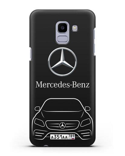 Чехол Mercedes Benz E-класс с автомобильным номером силикон черный для Samsung Galaxy J6 2018 [SM-J600F]