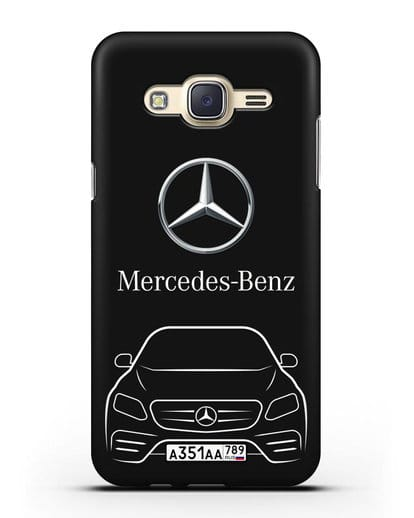Чехол Mercedes Benz E-класс с автомобильным номером силикон черный для Samsung Galaxy J7 2015 [SM-J700H]