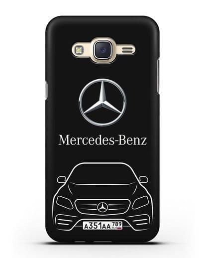 Чехол Mercedes Benz E-класс с автомобильным номером силикон черный для Samsung Galaxy J7 Neo [SM-J701F]