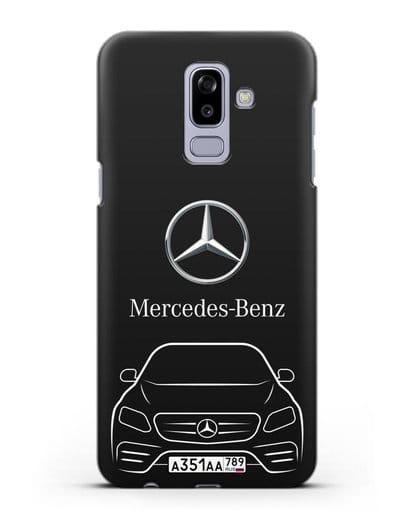Чехол Mercedes Benz E-класс с автомобильным номером силикон черный для Samsung Galaxy J8 2018 [SM-J810F]