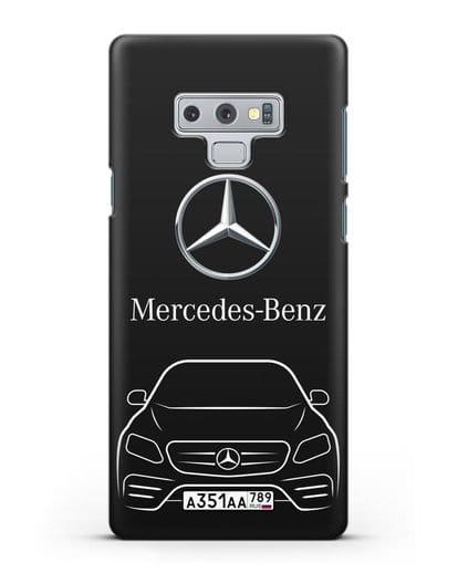 Чехол Mercedes Benz E-класс с автомобильным номером силикон черный для Samsung Galaxy Note 9 [N960F]