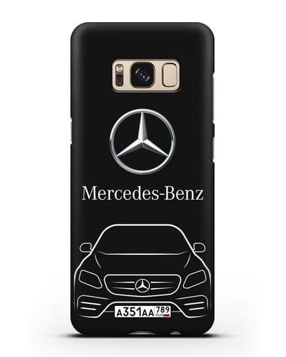 Чехол Mercedes Benz E-класс с автомобильным номером силикон черный для Samsung Galaxy S8 Plus [SM-G955F]