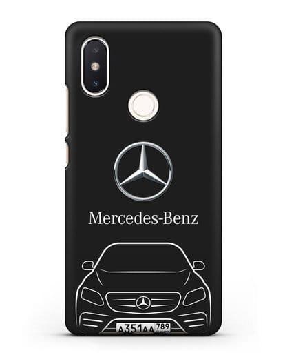 Чехол Mercedes Benz E-класс с автомобильным номером силикон черный для Xiaomi Mi 8 SE