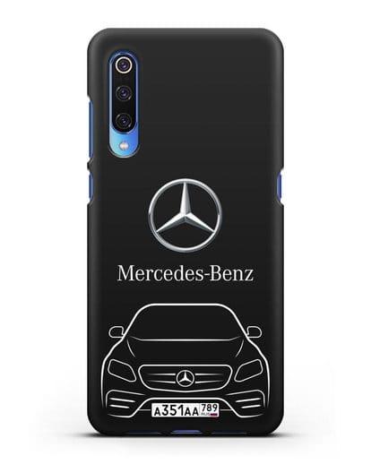 Чехол Mercedes Benz E-класс с автомобильным номером силикон черный для Xiaomi Mi 9