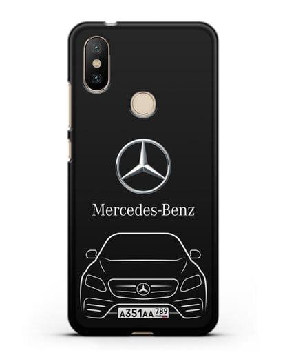 Чехол Mercedes Benz E-класс с автомобильным номером силикон черный для Xiaomi Mi A2