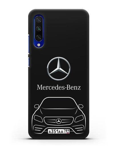 Чехол Mercedes Benz E-класс с автомобильным номером силикон черный для Xiaomi Mi A3