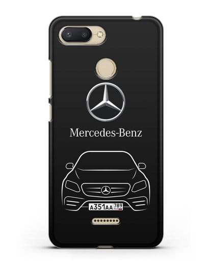 Чехол Mercedes Benz E-класс с автомобильным номером силикон черный для Xiaomi Redmi 6