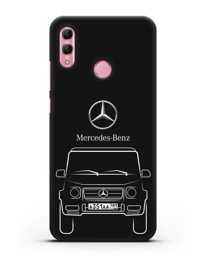 Чехол Mercedes Benz G-класс с автомобильным номером силикон черный для Honor 10 Lite