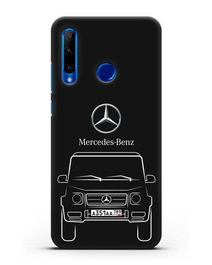 Чехол Mercedes Benz G-класс с автомобильным номером силикон черный для Honor 10i