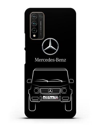 Чехол Mercedes Benz G-класс с автомобильным номером силикон черный для Honor 10X Lite