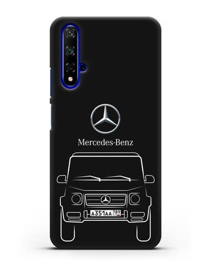 Чехол Mercedes Benz G-класс с автомобильным номером силикон черный для Honor 20