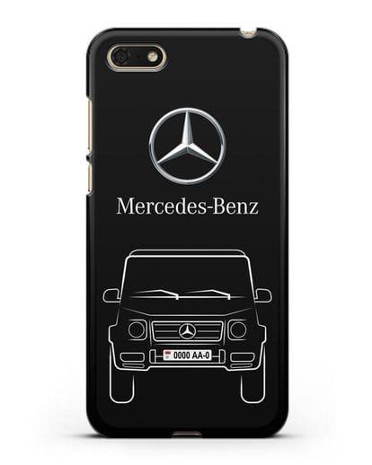 Чехол Mercedes Benz G-класс с автомобильным номером силикон черный для Honor 7А