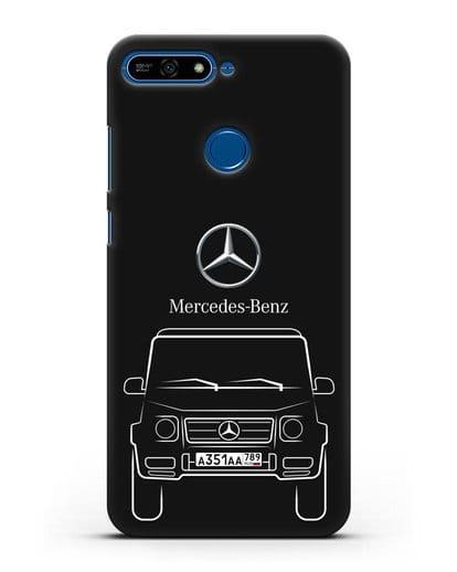 Чехол Mercedes Benz G-класс с автомобильным номером силикон черный для Honor 7А Pro