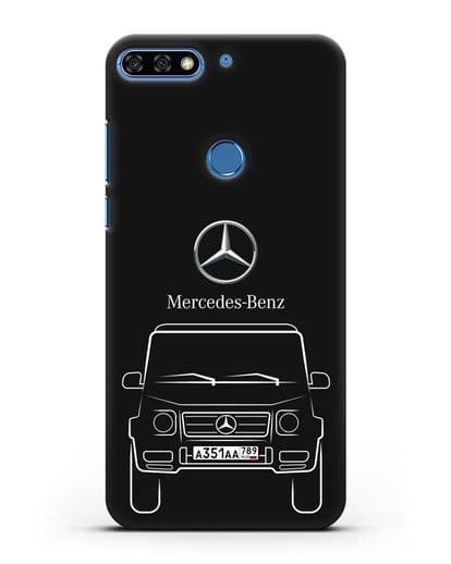 Чехол Mercedes Benz G-класс с автомобильным номером силикон черный для Honor 7C Pro