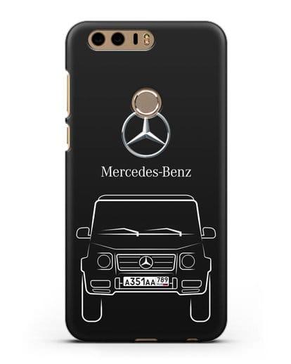Чехол Mercedes Benz G-класс с автомобильным номером силикон черный для Honor 8