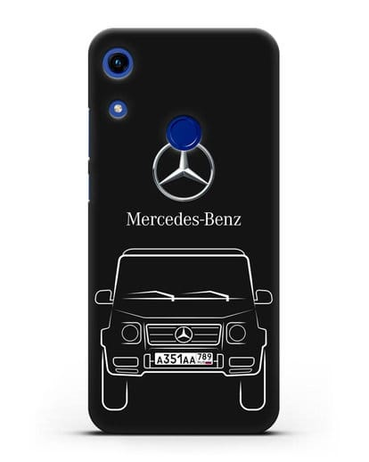 Чехол Mercedes Benz G-класс с автомобильным номером силикон черный для Honor 8A