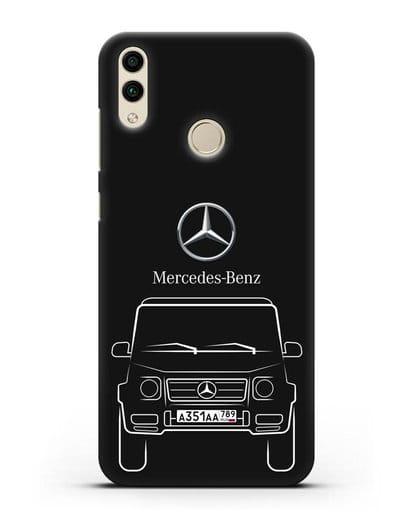 Чехол Mercedes Benz G-класс с автомобильным номером силикон черный для Honor 8C