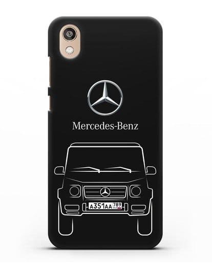 Чехол Mercedes Benz G-класс с автомобильным номером силикон черный для Honor 8S